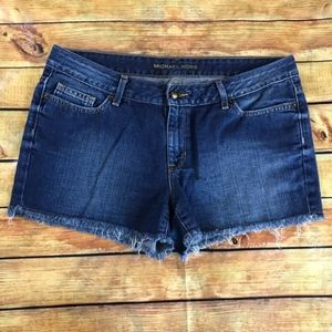 Michael Kors Denim Cutoff Fringe Shorts Size 6
